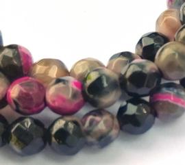 Agaat kleurrijk facet kralen (4 mm)