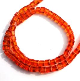 Tsjechische glas facetkralen 4 x 4 mm kubus oranje 98 st.