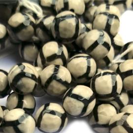Agaat facet bruin met zwarte strepen(8 mm)