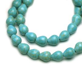Turquoise druppel kralen 8 x 9 mm