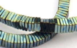Hematiet platte vierkante 1 x 4 x 4 mm kralen groen-blauw