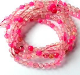 Agaat facet roze kleur (4 mm)