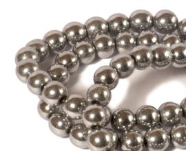 Hematiet kralen zilverkleur (6 mm) 64 st.