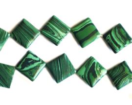 Malachiet platte vierkante 16 x 16 mm kralen