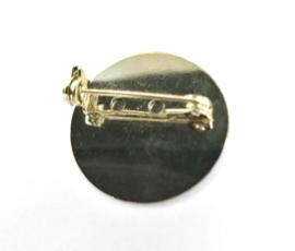 Platte metalen broche speld 25 mm