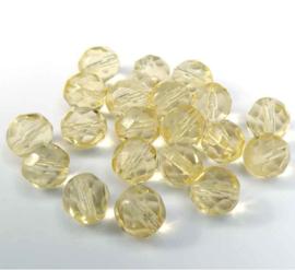 Tsjechische glas facetkralen licht geel doorzichtig (8 mm)