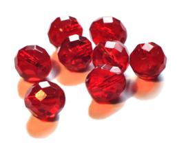 Facetkralen  12 mm donker rood 9 st.