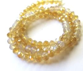 Kristal rondel  facet geslepen 4 x 6 mm, tweekleurige wit - bruin