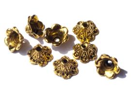 9 x 5 mm oud goud kleur kralenkapje 16 st.