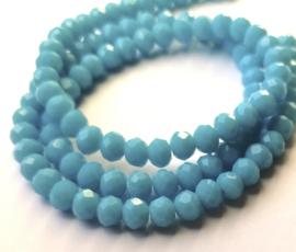Kristal rondel  facet geslepen 4 x 6 mm, licht blauw