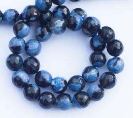 Agaat facet blauw-zwart 8 mm
