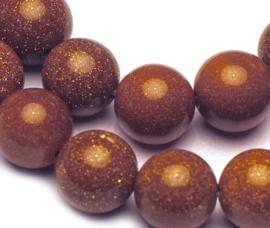 Goudsteen Bruin rond kralen  (10 mm)