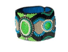 Bead embroidery armband 'SPRING SNOW'