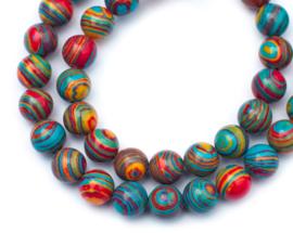 Kleurrijke Rood-Blauw-Geel synthetische Malachiet (8 mm)