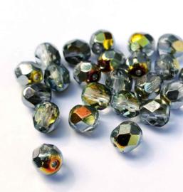 Tsjechische glas facetkralen grijs glanzend AB (6 mm)