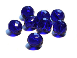 Tsjechische glas facetkralen  donker blauw (14 mm)