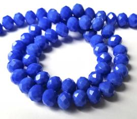 Kristal rondel  facet geslepen 8 x 10 mm, Blauw