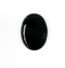 Agaat zwart ovaal cabochon ca. 30 x 22 mm