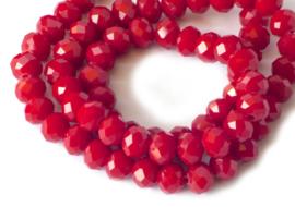 4 x 6 mm Tsjechische facetkralen rondel rood 98 st.