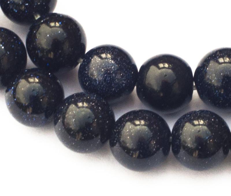 Goudsteen zwart rond 8 mm