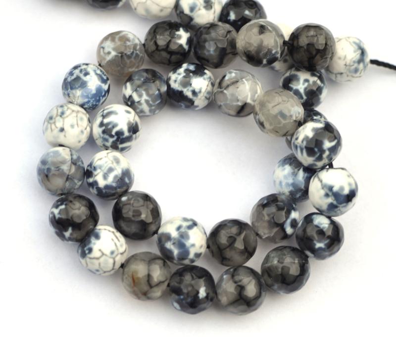 Agaat wit-grijs-zwart 10 mm