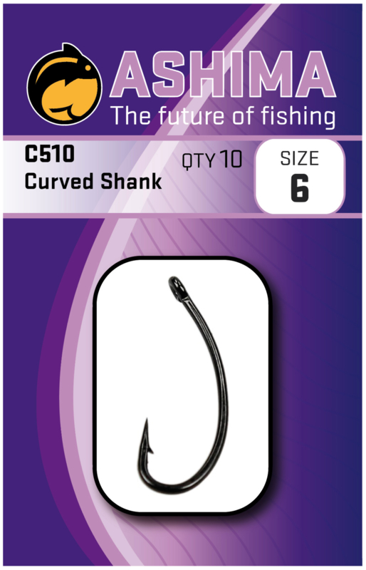 Ashima AS510 curved shank haak in de maat 6, 8 en 10.