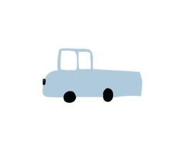 Pick up auto muursticker blauw - 5 stuks - 13x7cm