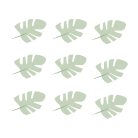 Jungly jungle - Bladeren muurstickers licht leger groen - 10x7cm