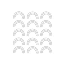 My little rainbow - Regenboog muurstickers licht grijs 15st - 6x10cm