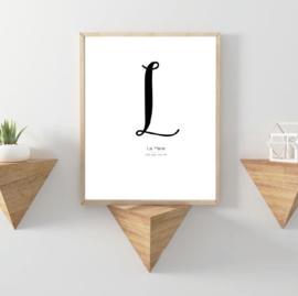Letter poster Zwart -  A4/A3 - Vul een naam in..