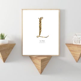 Letter poster Panterprint -  A4/A3 - Vul een naam in..