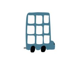 Bus muursticker donker blauw - 5 stuks - 12x12cm
