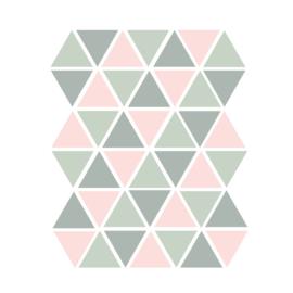 Driehoek muurstickers groen en roze - 45 stuks - 4,5x4,5cm