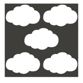 Witte wolk muursticker - 5 stuks - 14x8cm