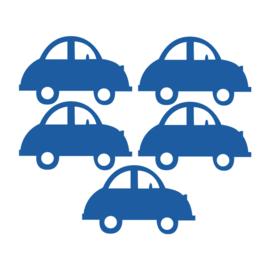 Donker blauwe auto muurstickers - 5 stuks - 16,5x10,5cm