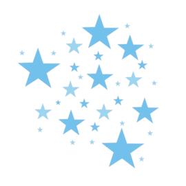 Blauwe tinten sterren mix muurstickers - 33 stuks