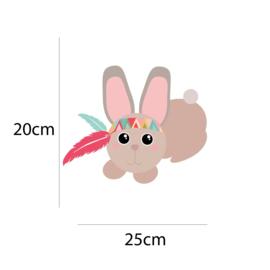 Indianen dieren - Konijn muursticker - 25x20cm