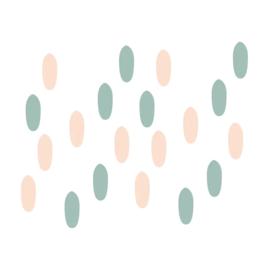 My little rainbow - Vlekken muurstickers mint groen en zalm roze 20st - 1x3cm