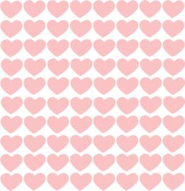 Hartjes muurstickers roze - 80 stuks - 2x2cm