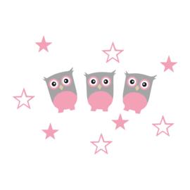 Roze uiltjes met sterren muurstickers - 3 uiltjes + 8 sterren - 15x10cm
