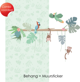 Combi Deal - Jungly Jungle - Licht groen - Behang + Muursticker