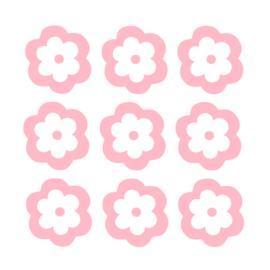Licht roze bloemen muurstickers - 8x8cm - 10 stuks