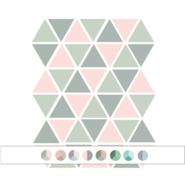 Driehoek muurstickers - Meerdere kleuren - 45 stuks - 4,5x4,5cm (Diverse varianten)
