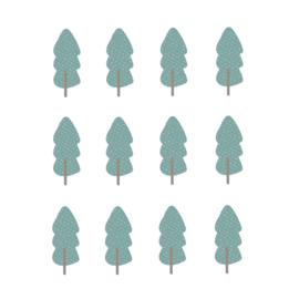 Indianen dieren - Mint blauwe bomen muurstickers 12st - 5x12cm