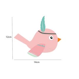 Indianen dieren - Roze vogel muursticker - 14x12cm