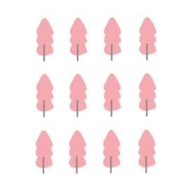 Indianen dieren - Roze bomen muurstickers 12st - 5x12cm