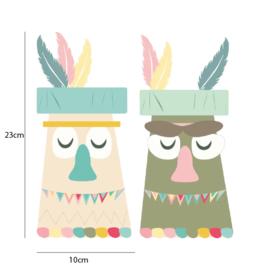 Indianen dieren - Totempalen muurstickers - 10x23cm