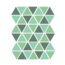 Driehoek muurstickers groen tinten - 45 stuks - 4,5x4,5cm