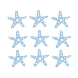 Fishie fishies - Zeesterren muurstickers blauw - 3x3cm