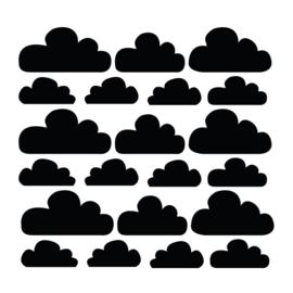 Zwarte wolken muurstickers - 21 stuks